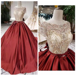 classic simple sexy wedding dresses UK - 2020 Classic Jewel Neck Ball Gown Wedding Dresses Luxurious Beaded and Sequins Red Wedding Dress with Sweep Train Pretty Wedding Dresses