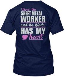 Metal Worker Australia - mens designer t shirts shirt Sheet Metal Worker- - There S This Worker And He Kinda Popular Tagless Tee T-Shirt