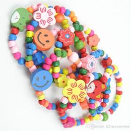 Cheap Kids Girls Wood Bracelets Children Wristbands Cartoon Mix Wholesale Birthday Party Gift Jewelry Lot