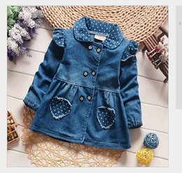 Discount new baby girl jeans - 2017 spring new children girls lovely polka dots denim jacket female baby cotton jean lapel coat kids emperament outfits