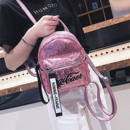 $enCountryForm.capitalKeyWord NZ - Laser Sequins Women Backpack Fashion Letter Student Single Shoulder Bag Canvas Mini Small Schoolbags For Teenage Girls Book Bags