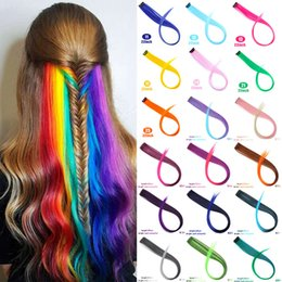 HigHligHt clips online shopping - Long Straight Rayon Colored Hair Extensions Clip In Highlight Rainbow Hair Streak Pink Synthetic Strands On Clips QIANJI