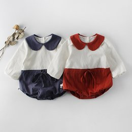 1fda16948 Infant Clothing Jumpsuits Rompers Long Sleeve Patchwork Cotton Newborn  Bodysuits Red Blue Peter pan Collar Baby Girls Clothes Spring 2019
