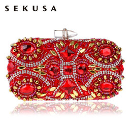$enCountryForm.capitalKeyWord Australia - SEKUSA Embroidery Red Evening Bags Chain Shoulder Beading Clutch Lip Metal Rhinestones Lady Purse For Wedding Party Dinner