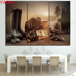 $enCountryForm.capitalKeyWord Australia - 5d diamond embroidery 3 Pcs Fishing Tools Rod Boots Wooden Board Painting diy diamond painting full square mosaic puzzle picture