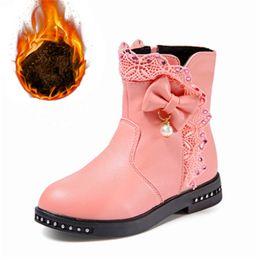 Korean girls hot shorts online shopping - Girls snow boots autumn winter girls bow pearl lace short boots Korean princess kids plus velvet cotton hot children shoes