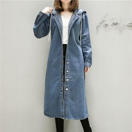 jean trench Canada - Blue Hooded Denim Trench Coat Women Fashion Jeans Long Coats Long Sleeve Plus Size Outwear