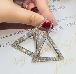 Discount wedding hoop earings - S925 Sterling Silver Earring creative jewelry elegant crystal earrings triangle Gold and silver earings wedding party ea