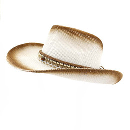 d033243989b0f 2019 Summer Western Cowboy Hats Brown Spray Painted Paper Straw Jazz Hat  Unisex Wide Brim Sunshade Cap Sunhat for Men Wome