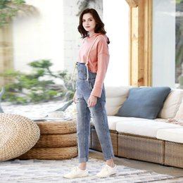 trousers overall jeans 2019 - Loose Strap Backless Denim jeans pants women cowboy Overalls Harem Trousers Hole Jumpsuit Women Rompers ripped jeans for