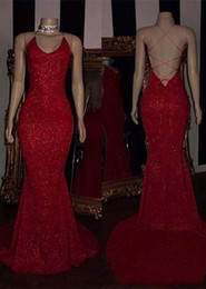 Cross Back Dresses Red Carpet NZ - REal Photoes REd Sequin MErmaid Sexy Evening Dresses With Back Criss Cross Floor LEngth Long Prom Dresses Custom MAde