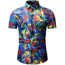 Xxxl Wholesale Clothing Australia - 2019 New Summer Mens Short Sleeve Beach Hawaiian Shirts Cotton Casual Floral Shirts Regular Plus Size XXXL Mens clothing Fashion
