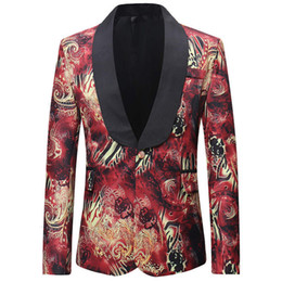 Blade print online shopping - New Tide Men s Fashion Printing Blade Design Bigger Hip Hot Men s Thin Plant Jacket Singer s Suit M XXXXL