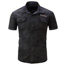 $enCountryForm.capitalKeyWord Canada - New Shirt Men Short Sleeve Denim Shirt Mens Casual Dress Male Jean Shirts High Quality Street wearing