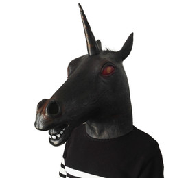 animal face masks UK - 2019 Hot Funny Black Unicorn Mask Horse Head Masks Overhead Latex mask hood animal Cosplay Fancy Dress up party bar cosplay mask toys