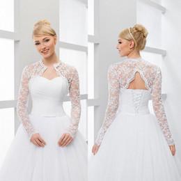 Jackets Custom Australia - New Long Sleeve V Backless Bridal Wedding Lace Jacket Bolero Shawl Wraps White Ivory Custom Size Jackets S M L XL XXL