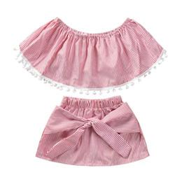 $enCountryForm.capitalKeyWord Australia - 2pcs Kids Baby Girls Clothes Set Off Shoulder Tassel Stripe T-Shirts Tops Crop Lacing Dress Skirt Children Summer Outfits 2019