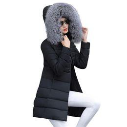 Long Padding Jacket Australia - Winter Jacket Women 2018 Middle Long Cotton-padded Jackets Big Fur Hooded Collar Parkas Thicken Warm Winter Coat Female Parkas