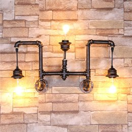 $enCountryForm.capitalKeyWord NZ - 3 Heads Water Pipe Steampunk Vintage Wall Lights For Dining Room Bar Home Decoration American Industrial Loft E27 Wall Sconce