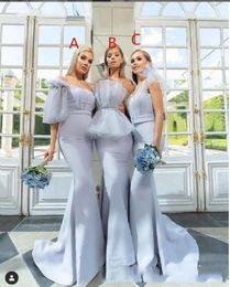 Slim mermaid brideSmaid dreSS online shopping - New Design Mermaid Gorgeous Slim Bridesmaids Dresses Sweep Train Long Honor Of Maid Tulle Vestidos De Bridesmaids Prom Gowns Sleeveless