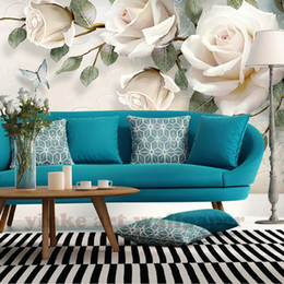 painted white rose Canada - Custom Photo Wallpaper painting 3D white rose Flowers Wall Murals Living Room TV Sofa Backdrop Wall Paper Modern Home Decor Room