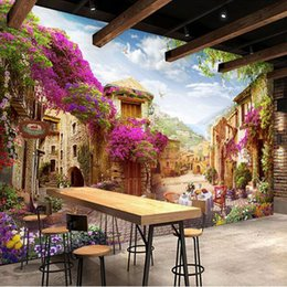 backdrop city NZ - Custom 3D Mural Wallpaper European Town Pastoral City Landscape Nature Photo Wall Murals Cafe Restaurant Backdrop Wall Paper 3 D