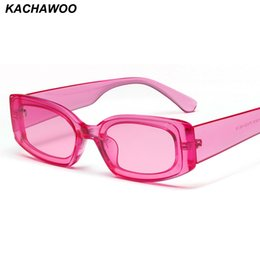 blue rectangle sunglasses NZ - Kachawoo women rectangle sunglasses transparent pink blue candy color travel sun glasses ladies 2019 fashion women gift
