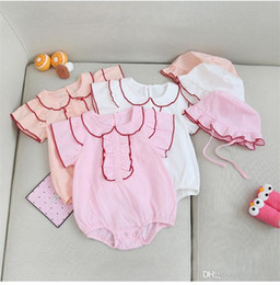$enCountryForm.capitalKeyWord Australia - INS New Summer Toddler Baby Girls Blank Jumpsuits with Hat 2pieces Set Front Ruffles Line Turn-down Collar Pink Bodysuit Baby Romper 3-18M