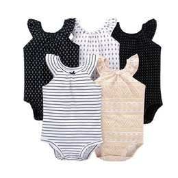 cute summer rompers Australia - 5pcs set Baby Girl Sleeveless O-neck Love Romper 2019 Summer Clothing New Born Clothes Boy Rompers Cute New Born Costume Cottons Y19061201