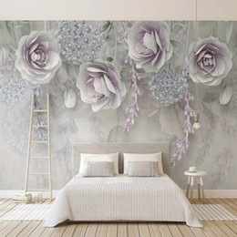 Paintings For Restaurant Australia - 3D Embossed flowers Wallpaper Retro Purple flowers Mural Large Fresco Floral Wall Paper Study Restaurant TV Backdrop Wall Painting Decor