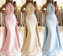 $enCountryForm.capitalKeyWord Australia - Gorgeous Mermaid Prom Evening Dresses with Detachable Skirt 2019 Halter Neck Appliques Top Satin Long Party Pageant Gowns