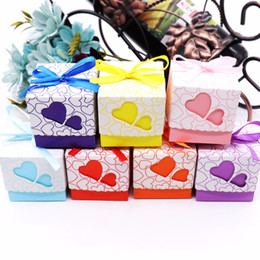 Candy Heart Gift Australia - Love Heart Candy Boxes Double Hollow Love Heart Design Laser Cut Wedding Party Favor Gifts Candy Bags With Ribbon Party 50pcs