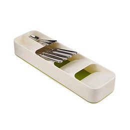 Vente en gros Accueil Cuisine Tiroir Organisateur Arts de la table Plateau Boîte de rangement Couteau cadre Porte-arrangement boîtes couteau et une fourchette de grande capacité 7jqH1