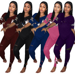 $enCountryForm.capitalKeyWord Canada - Designer Letter Print Tracksuits Women Two Piece Set Female Street T-shirt Tops and Jogger Set Track Suit Casual 2pcs Outfits S-3XL