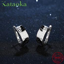 $enCountryForm.capitalKeyWord Australia - 2018 Black White Painting Earrings For Women Geometric Shape Authentic 925 Sterling Silver Charms Clip On Earrings Party Enamel Y19062703