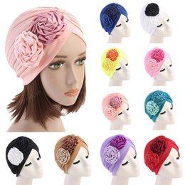 hair loss women Australia - Women Hat Muslim Flower Ruffle Cancer Chemo Beanie Scarf Turban Wrap Cap Hair Loss Skullies Headwear Accessories Cover Fashion