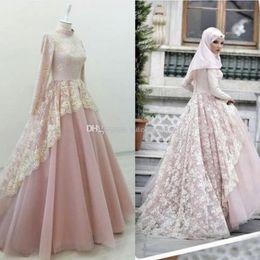 Vintage Dress For Muslim Australia - Arabic Dusty Pink Muslim Evening Dress Elegant High Neck Long Sleeves Lace Formal 2019 Prom Dresses Vintage 1930s Evening Gowns For Women