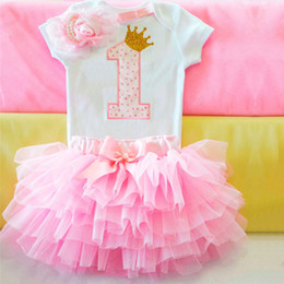 baby wedding dresses year UK - Summer Brand Baby Girl 1 Year Birthday Little Dress Tutu Fluffy Wedding Gown Kids Party Wear Clothes Girls Boutique Clothing 12M