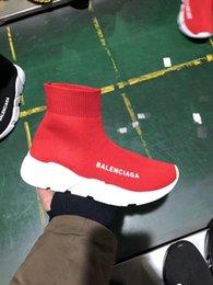 shoe sock sizes 2019 - A4 2019 Size 36-45 Designer Luxury Brand Sock Shoes Black Red Paris Slip-on High Top Men Women Casual Flat Shoes Sneaker