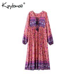4651441e646 Long Sleeve Tassel Dress Summer UK - Boho Chic Summer Vintage Floral Print Long  Dress Women