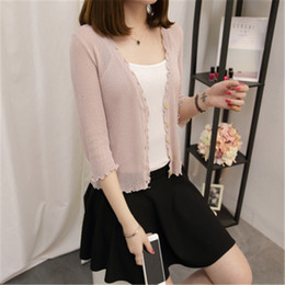 59ef58ce45f2 2019 spring summer thin knitted sweater women's cardigan v neck office lady  autumn sunscreen short air conditioning shirt D039