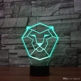 plastic lions NZ - Lion-totem 3D Illusion Night Light Touch 7 Color Change Home Decor Baby Girl Boy LED Lamp Kids Gift Christmas Xmas Gifts