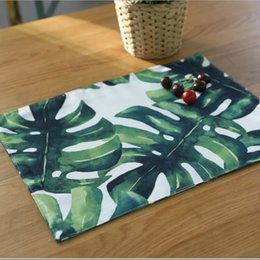 green table placemats Australia - Kitchen Table Mats Polyester cotton Table Tropical Napkin Green leaf Pattern mat Decorative Placemats 32*45 cm