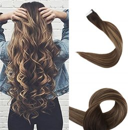 $enCountryForm.capitalKeyWord Australia - Ombre Tape in Hair Extensions Seamless Remy Hair Weft Color 2 Brown Fading to #3 and #27 Honey Blonde Dip Dyed Human Hair 20 Pcs 50gram