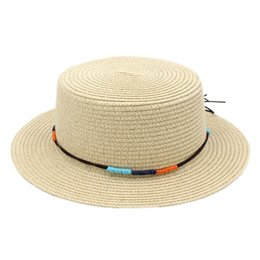 Chinese  Fashion Women Ladies Straw Boater Hat Sailor Bowler Summer Beach Porkpie Hat Flat Top Cap Sun Protection DIY Hatband manufacturers