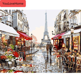 paris street paintings Australia - Painting By Numbers Frameless Paris Street Oil Painting Picture By Numbers On Canvas Home Decor Diy Kits For Adults Animals Art Picture