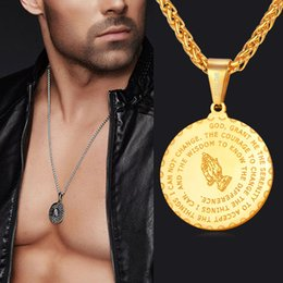 necklaces pendants Australia - 2019 Men Jewelry Praying Hands And Bible Verse Pendant Necklace With Wheat Chain For Men 18K Gold Plated Stainless Steel