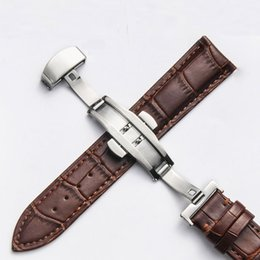 watch bracelet size UK - Genuine Leather Watchband With Butterfly Clasp Bands Croco Grain Bracelet for Pulseira Watch sized in 14 16 18 19 20 21 22 24 mm