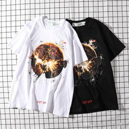 Globe Clothes Australia - o‍ff white High-quality cotton summer short sleeve T-shirt brand clothing, globe flame print T-shirt of the same style for men and women