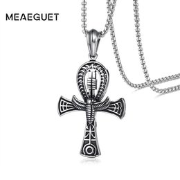 Egypt Pendants Australia - Meaeguet Punk Street Key To Life Egypt Cross Necklaces For Men Middle Ages Stainless Steel Totem Scarab Ankh Pendant Jewelry Y19061703